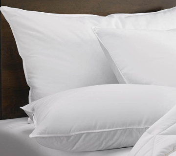 Down pillows in soft, medium and firm support