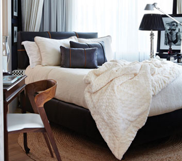 A gorgeous Falucca Fine Linen bed styled by Louise Alexandra Interiors