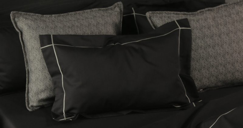Falucca Fine Linen Signature Collection in Charcoal with single satin stitch detail in oyster.