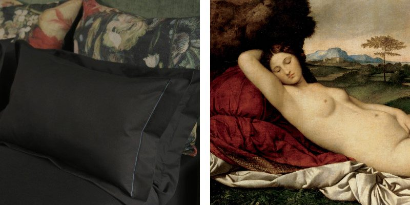 This bedroom decor look takes inspiration from the dramatic light and dark elements of the Renaissance era, especially Giorgione's Sleeping Venus.