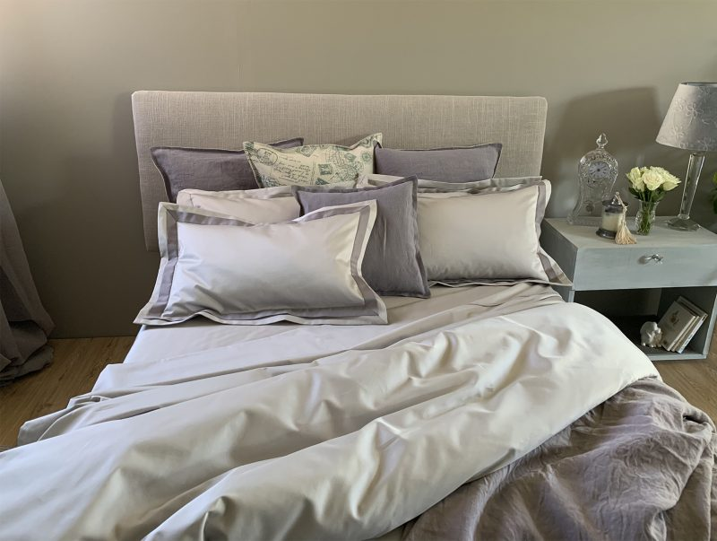French boudoir look in Oyster colour from the Falucca Linen Signature Collection bed linen